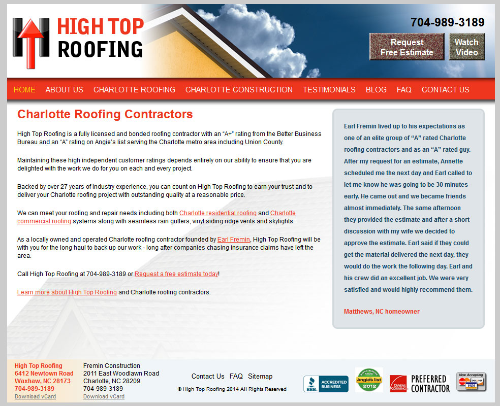 Drupal 7 Website for Construction Company: HighTopRoof.com