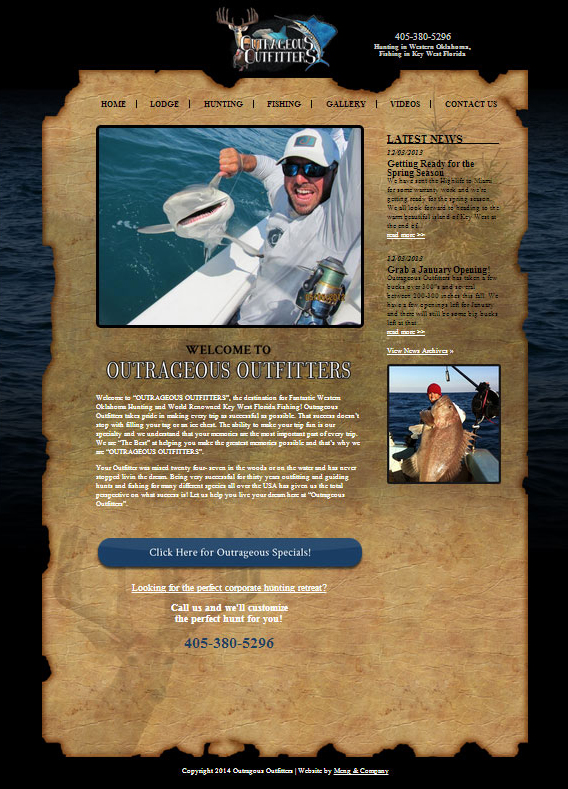 Website for Hunting and Fishing: OutrageousOutfitters.net