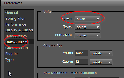 How set photoshop use pixels by default