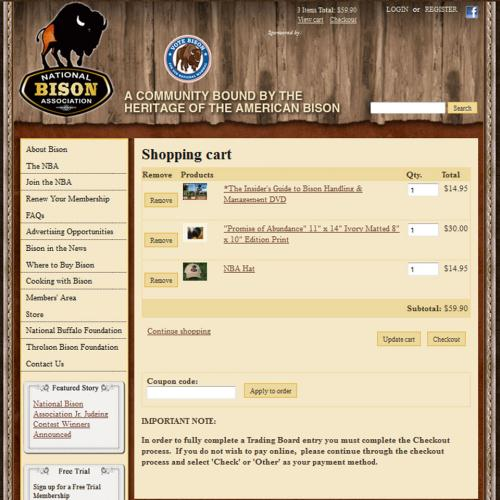 Drupal ubercart online store for association